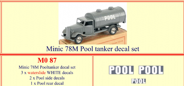 "M087 Tri-ang ( Triang ) Minic 78M "" POOL"" Tanker decal set"